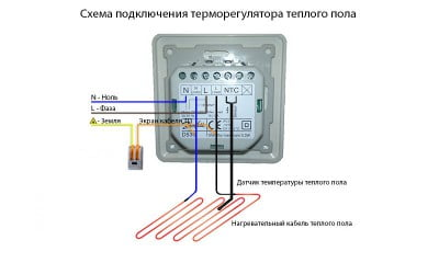 Фото: схема подсоединения термодатчика теплого пола
