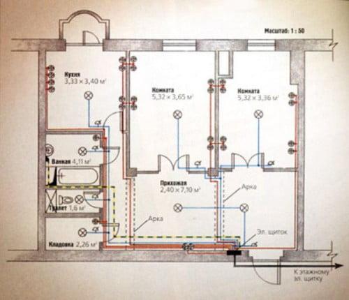 Фото: схема расположения электропроводки
