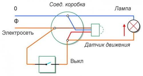 Фото: схема подключения одного датчика движения