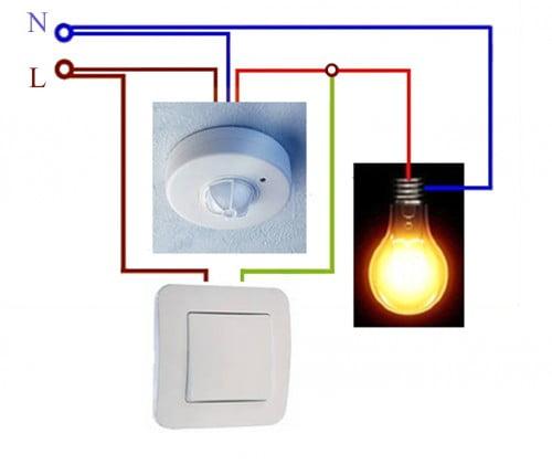 Фото: как подключить датчик движения к лампе