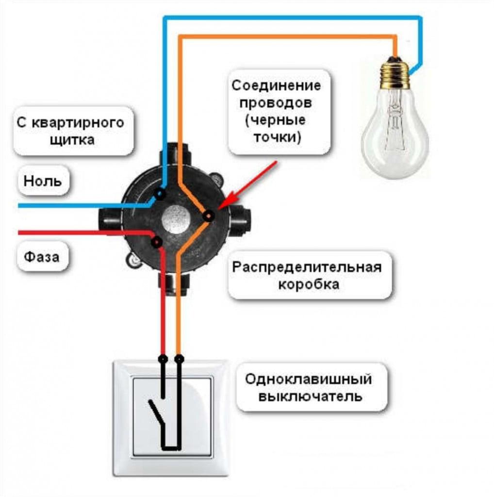 Схема подключение лампочки от сети через выключатель