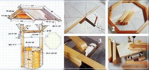 Фото: схема составления колодца из дерева