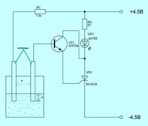 Схемы контроля уровня воды в баке своими руками