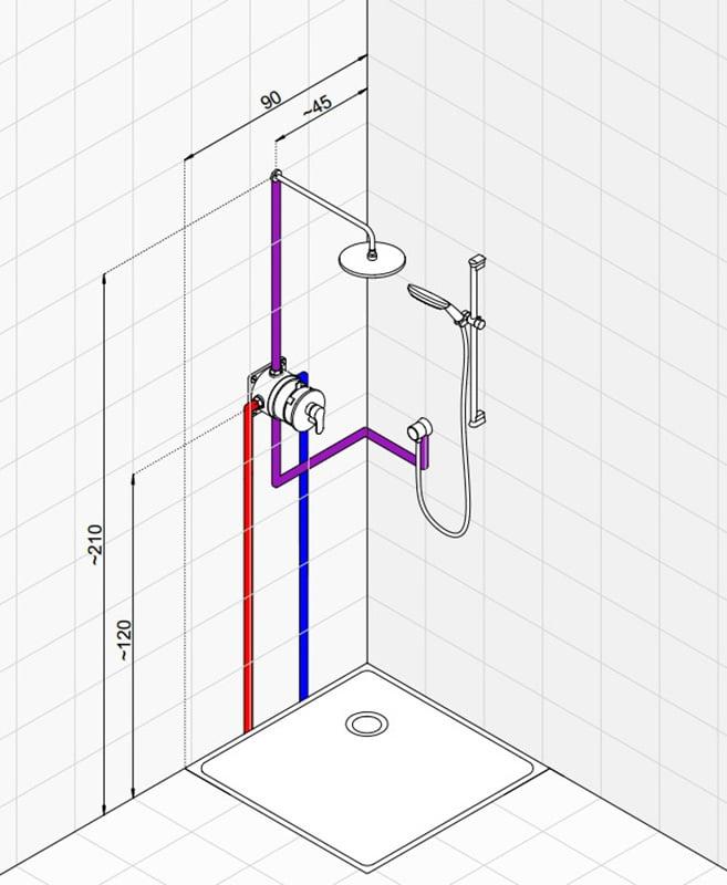 Как сделать две лейки в душ